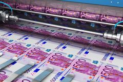 Printing 500 Euro money banknotes. Business success, finance, banking, accounting and making money concept: 3D render illustration of printing 500 Euro money royalty free illustration