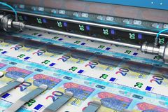 Printing 20 Euro money banknotes. Business success, finance, banking, accounting and making money concept: 3D render illustration of printing 20 Euro money paper royalty free illustration