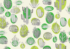 Printing fabric with cactus Royalty Free Stock Photo