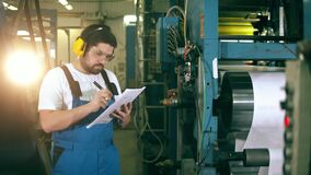 Printing factory unit with a male constructor analysing data