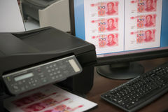 Printing Fake RMB Paper Currency Stock Photo