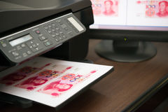 Printing fake RMB paper currency Stock Photos