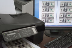 Printing fake USD paper currency Stock Photos