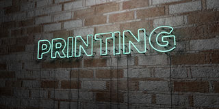 PRINTING - Glowing Neon Sign on stonework wall - 3D rendered royalty free stock illustration Stock Photos