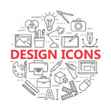 Printing and graphic design icons in thin outlines. Graphic design icons, vector symbols. Printing and graphic design icons in thin outlines Royalty Free Stock Images