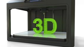 Printing green volumetric letters with a 3D printer, 3D rendering. Printing green letters with a 3D printer Stock Images
