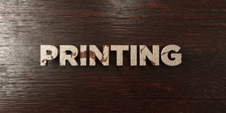 Printing - grungy wooden headline on Maple - 3D rendered royalty free stock image. This image can be used for an online website banner ad or a print postcard stock illustration