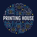Printing house circle poster with flat line icons. Print shop equipment - printer, scanner, offset machine, plotter. Brochure, cmyk, rubber stamp. Polygraphy stock illustration