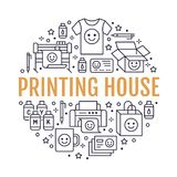 Printing house circle poster with flat line icons. Print shop equipment - printer, scanner, offset machine, plotter. Brochure, cmyk, rubber stamp. Polygraphy vector illustration