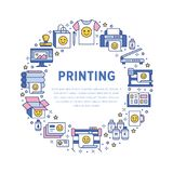 Printing house circle poster with flat line icons. Print shop equipment - printer, scanner, offset machine, plotter. Brochure, rubber stamp. Polygraphy office Royalty Free Stock Images