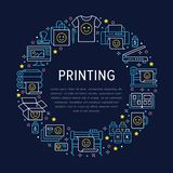 Printing house circle poster with flat line icons. Print shop equipment - printer, scanner, offset machine, plotter. Brochure, rubber stamp. Polygraphy office royalty free illustration
