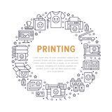 Printing house circle poster with flat line icons. Print shop equipment - printer, scanner, offset machine, plotter. Brochure, rubber stamp. Polygraphy office Stock Image