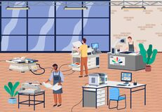 Printing house equipment. Printer plotter, offset cutting machines, man and woman workers in print house