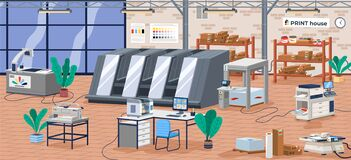 Printing house facility offset production line industrial equipment isometric vector illustration