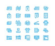 Printing house flat line icons. Print shop equipment - printer, scanner, offset machine, plotter, brochure, rubber stamp. Thin linear signs for polygraphy Royalty Free Stock Images