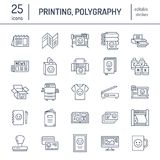Printing house flat line icons. Print shop equipment - printer, scanner, offset machine, plotter, brochure, rubber stamp. Thin linear signs for polygraphy Stock Image