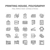 Printing house flat line icons. Print shop equipment - printer, scanner, offset machine, plotter, brochure, rubber stamp. Thin linear signs for polygraphy Royalty Free Stock Photos