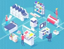 Printing House Isometric Polygraphy Composition. Printing house polygraphy industry isometric composition with human characters, plant and machinery and printer stock illustration