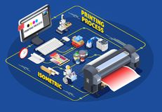 Printing Process Isometric Concept vector illustration