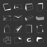 Printing house web monochrome white icons set Stock Photography