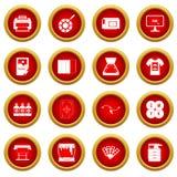 Printing icon red circle set Royalty Free Stock Photos