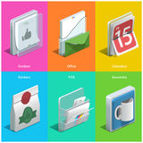 Printing icons. Isometric icons on a colorful background Royalty Free Stock Photography