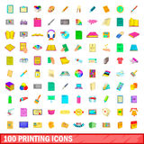 100 printing icons set, cartoon style. 100 printing icons set in cartoon style for any design vector illustration Stock Photography