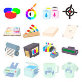 Printing icons set in cartoon style Royalty Free Stock Images