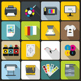 Printing icons set, flat style Royalty Free Stock Photos