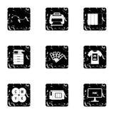 Printing icons set, grunge style Stock Images