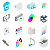 Printing icons set, isometric 3d style Royalty Free Stock Photos