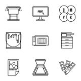 Printing icons set, outline style Royalty Free Stock Image