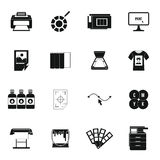 Printing icons set, simple style Stock Image