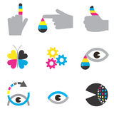 Printing industry icons. Colorful Icons of printing industry. Concept for presenting color printing.Vector illustration Stock Photography