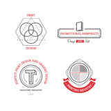 Printing industry Logos, Badges and Labels Design Elements set. Stock Photography