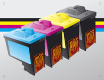 Printing ink cartridges background Royalty Free Stock Photos