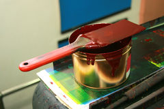 Printing Ink Pail and Paddle royalty free stock image