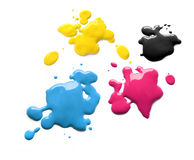 Printing inks cmyk. Drops of printing inks cyan magenta yellow black vector illustration