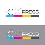 Printing labels and CMYK scale. Printing services, express print & copy, media center, print house, photo studio. Logo template. Vector illustration Royalty Free Stock Image
