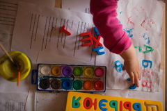 Printing letters. Child's printing colorful letters Stock Photos