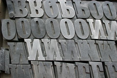 Printing letters. Close up of metal printing letters Royalty Free Stock Photography