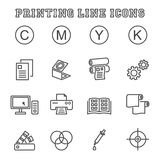Printing line icons Royalty Free Stock Photos