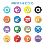 Printing long shadow icons Stock Photos