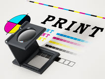 Printing loupe standing on colour test paper. 3D illustration.  royalty free illustration