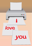 Printing of love letter Royalty Free Stock Image