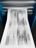 Printing machine. 3d illustration of a machine printing a newspaper Stock Image