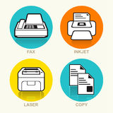 Printing Machine Vector Icon Set Stock Photo