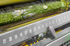 Printing machine yellow color ink roller, close up Royalty Free Stock Photos