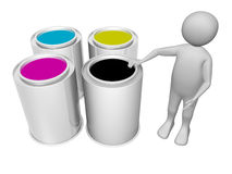 Printing man. A man with four color buckets. Printing concept Royalty Free Stock Image