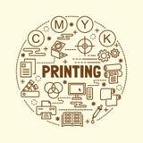 Printing minimal thin line icons set Stock Photography